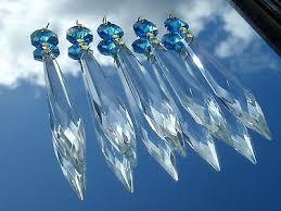 4 of 10 aqua marine turquoise crystal glass icicle chandelier drops ts