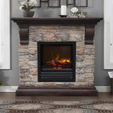 image of stone electric fireplace image