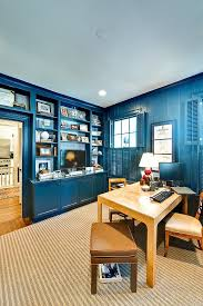 view in gallery a splash of navy blue for the eclectic home office design andrew roby general blue office decor