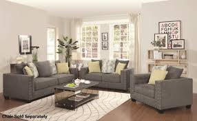 Reclining Living Room Sets Coaster Kelvington 501421 501422 Grey Fabric Reclining Sofa And