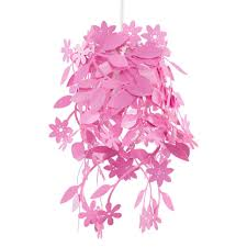 girls funky modern pink leaves flowers tangle ceiling light shade lampshade