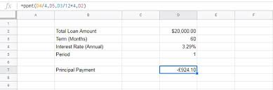 Principal Payment Calculation How To Use The Ppmt Function In Google Sheets Formula Examples