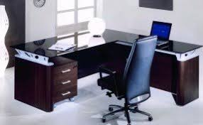 glass office table. fabulous l shaped office furniture desk design ideas with black glass table