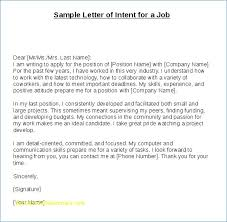 Letter Of Intent For A Job Resume Layout Com