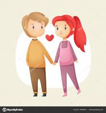 cute love couple holding hands happy valentine s day postcard vector cartoon ilration stock ilration