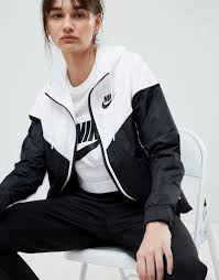 nike colour block windbreaker jacket black white black