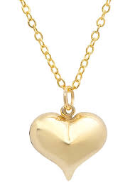 best silver inc 14k yellow gold puffed heart pendant necklace