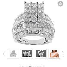 white diamond simulant ring rhodium over ss nwt bella luce