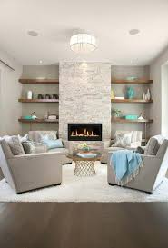fireplace with no mantle fireplace without mantle living room transitional with wood shelving wallpaper and wall