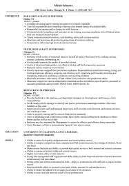 Restaurant Supervisor Resume Restaurant Supervisor Resume Samples Velvet Jobs 1