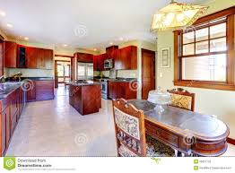 Large Kitchen Dining Room Large Chery Wood Kitchen With Dining Room Table Royalty Free