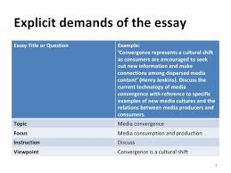 essay skills understanding the essay question 4 explicit demands of the essay essay title or question example
