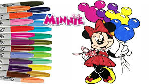 Disney Minnie Mouse Happy Birthday Coloring Book Page How To Color