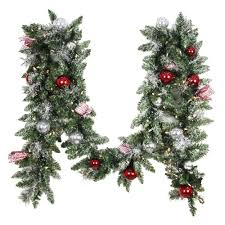 Home Depot Lighted Garland Home Accents Holiday 12 Ft Battery Operated Frosted Mercury