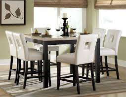 elegant dining room design with 7 pieces white faux marble top black counter height table high dining chairs52