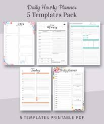 hourly agenda 5 daily hourly planner templates pack printable daily agenda templates 5 in 1 bundle instant download printable pdf