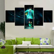 Painting Wall For Living Room Aliexpresscom Buy 5 Panels Artwork Football Star Canvas