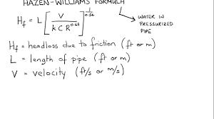 Hazen Williams Formula Pipe Flow Chart Application Of Hazen Williams Formula