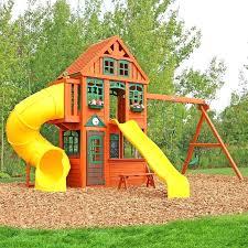 twin baby swing set mountain lodge wooden