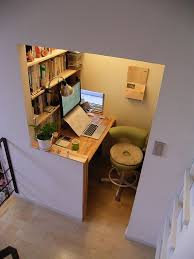small space office desk. practical half wall divider makes small home office feel more like a separate room while not being completely enclosed space desk