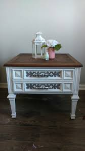 painted end table linen white chalk paint and dark stain on top