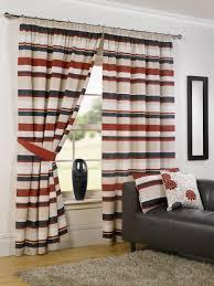 Wonderful Siennarizontal Striped Curtains Plus Cute Cushions And Black Sofa  For Interior Design Ideas Wide Navy White