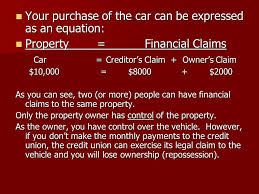 your purchase of the car can be expressed as an equation