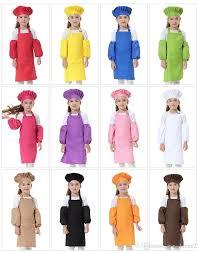 3pcs <b>set Child Apron Kids</b> Sleeve Hat Pocket <b>Kindergarten</b> Kit...