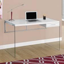 monarch computer desk 48 l glossy white tempered glass com