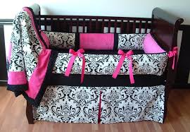 bedroom design black and white flowers crib blanket design with pink ribbons for crib bedding