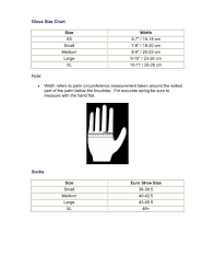 Glove Size 10 Chart Glove Size Chart Note So