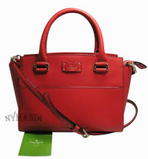 nwt kate spade small lana grove st wkru5323 leather satchel cross bag red