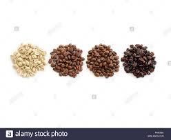Light Medium Dark Roast Coffee Raw Light Medium And Dark Roast Coffee Beans Stock Photo