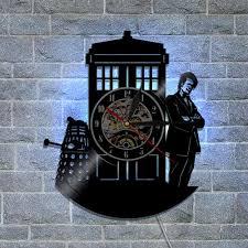 doctor who birthday gifts home decor classic vintage wall art decal sticker black diy 3d led night light quartz vinyl record wall clock wall clock