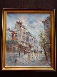 ine c burnett paris street scene moulin rouge oil painting on canvas