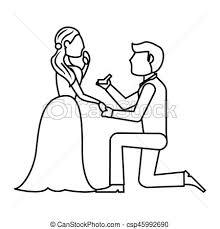 Couple Wedding Ring Romantic Outline Vector Illustration Eps 10