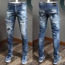 jeans rotos parcheados para hombre