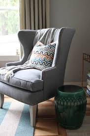 gray wingback chair. Functional \u0026 Beautiful: Sunbrella Fabric Indoors! Gray Wingback Chair