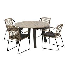4 seasons outdoor scandic 4 seater rope dining set with 130cm round table