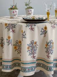 wild poppies french country yellow botanical round tablecloth