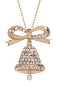 image of nadri pave cz embellished bell charm necklace