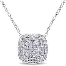 miabella miabella 1 2 carat t w diamond sterling silver halo pendant 18 com