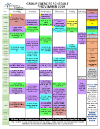 November Group Exercise Schedule