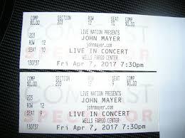Tickets John Mayer Concert Tickets Wells Fargo Center