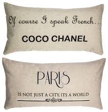 coco chanel e paris double sided french linen pillow gift for women