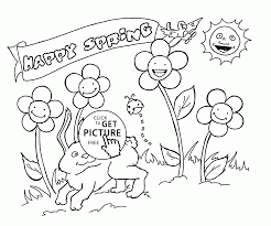 Small Picture Happy Animals and Plants Spring coloring page for kids seasons