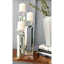 clear glasirror rectangular 3 candle holder