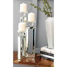 clear glasirror rectangular 3 candle holder