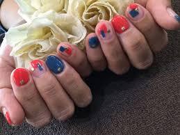 Nail Salon Freestyle赤ブルーブロックデザインジェルネイル