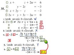 solving system of 4 variables elimination